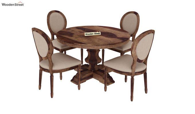 Clark 4 Seater Round Dining Set (Teak Finish)-2