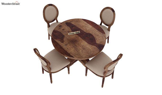 Clark 4 Seater Round Dining Set (Teak Finish)-4