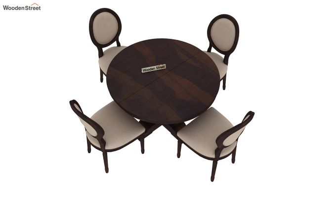 Clark 4 Seater Round Dining Set (Walnut Finish)-4
