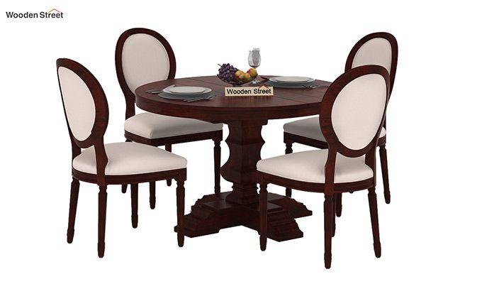 Clark 4 Seater Round Dining Set (Mahogany Finish)-1