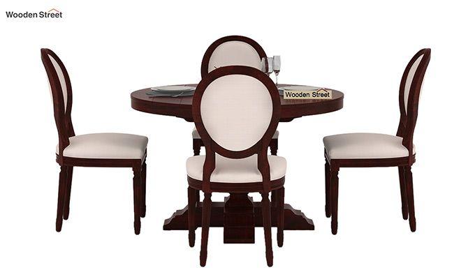 Clark 4 Seater Round Dining Set (Mahogany Finish)-2