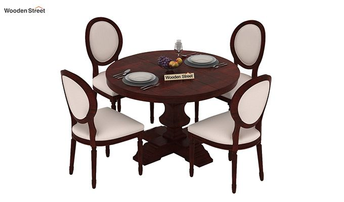 Clark 4 Seater Round Dining Set (Mahogany Finish)-3