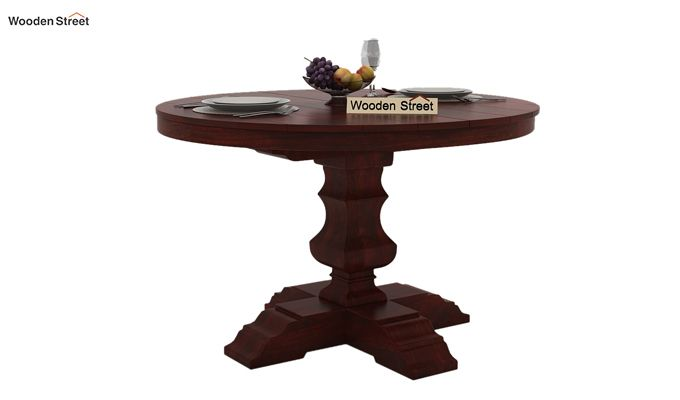 Clark 4 Seater Round Dining Set (Mahogany Finish)-5