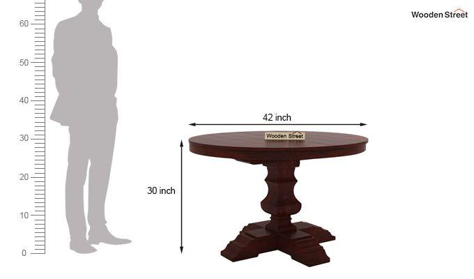 Clark 4 Seater Round Dining Set (Mahogany Finish)-9