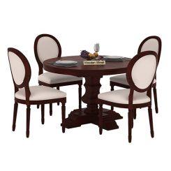 Clark 4 Seater Round Dining Set (Mahogany Finish)