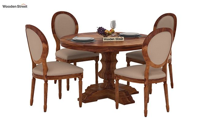 Clark 4 Seater Round Dining Set (Teak Finish)-1