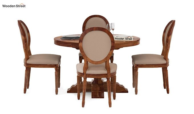 Clark 4 Seater Round Dining Set (Teak Finish)-2