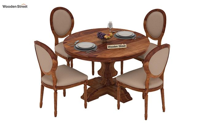 Clark 4 Seater Round Dining Set (Teak Finish)-3