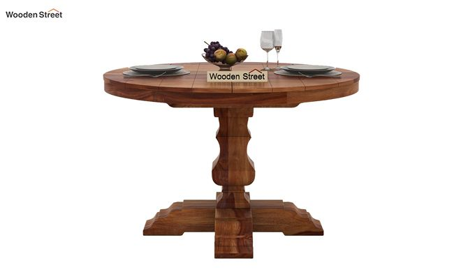 Clark 4 Seater Round Dining Set (Teak Finish)-4