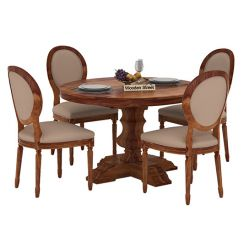 Clark 4 Seater Round Dining Set (Teak Finish)