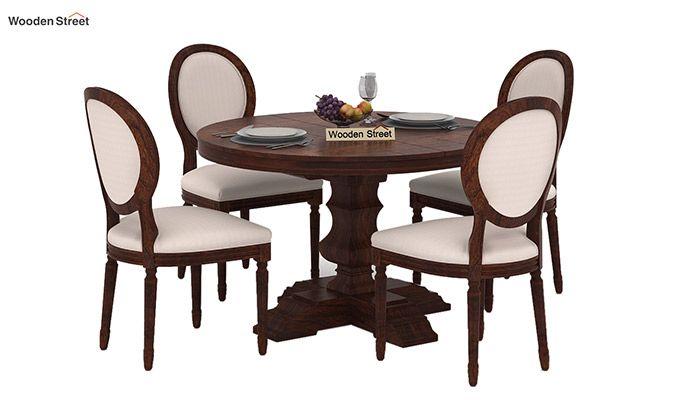 Clark 4 Seater Round Dining Set (Walnut Finish)-1