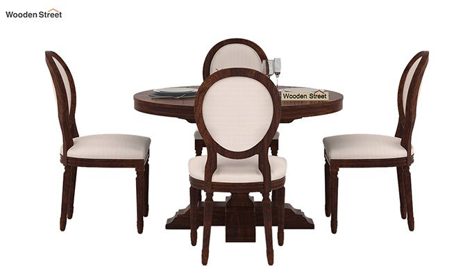 Clark 4 Seater Round Dining Set (Walnut Finish)-2