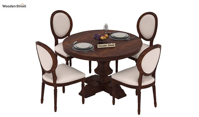 Clark 4 Seater Round Dining Set (Walnut Finish)-3