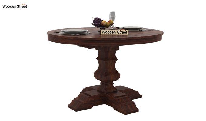 Clark 4 Seater Round Dining Set (Walnut Finish)-5