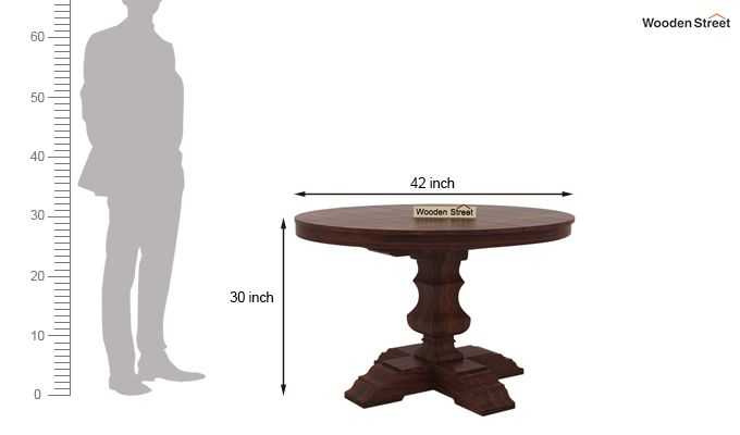 Clark 4 Seater Round Dining Set (Walnut Finish)-9