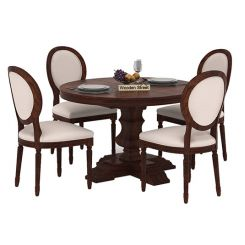 Clark 4 Seater Round Dining Set (Walnut Finish)
