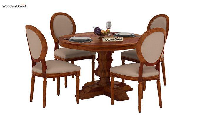 Clark 4 Seater Round Dining Set (Honey Finish)-2