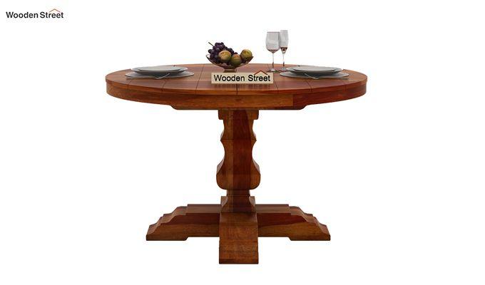 Clark 4 Seater Round Dining Set (Honey Finish)-6