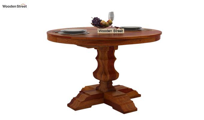 Clark 4 Seater Round Dining Set (Honey Finish)-5