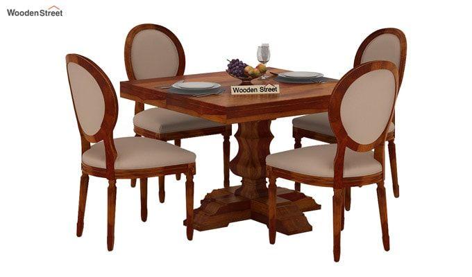 Clark 4 Seater Square Dining Set (Honey Finish)-1