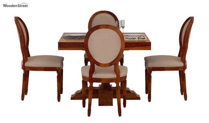 Clark 4 Seater Square Dining Set (Honey Finish)-2