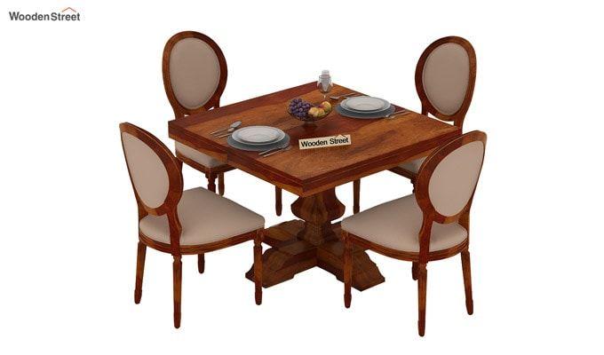 Clark 4 Seater Square Dining Set (Honey Finish)-3