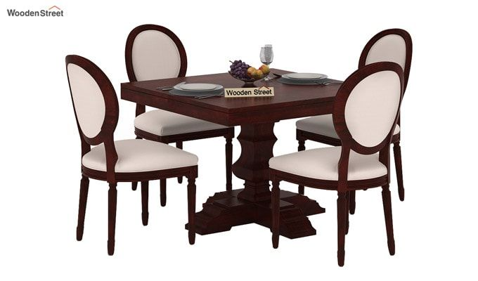 Clark 4 Seater Square Dining Set (Mahogany Finish)-1
