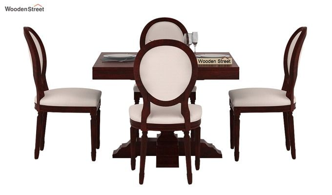 Clark 4 Seater Square Dining Set (Mahogany Finish)-2