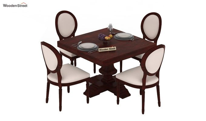 Clark 4 Seater Square Dining Set (Mahogany Finish)-3