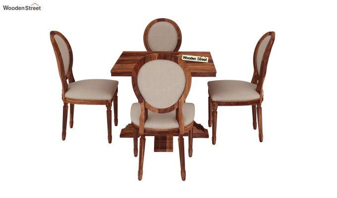 Clark 4 Seater Square Dining Set (Honey Finish)-4
