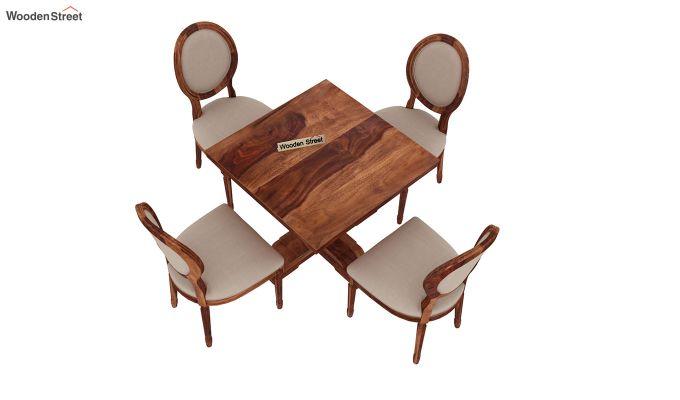 Clark 4 Seater Square Dining Set (Honey Finish)-5