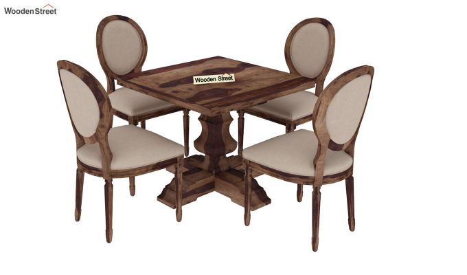 Clark 4 Seater Square Dining Set (Teak Finish)-3