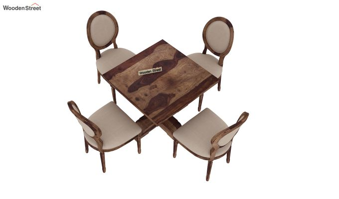 Clark 4 Seater Square Dining Set (Teak Finish)-5