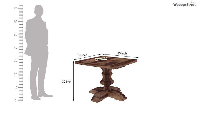 Clark 4 Seater Square Dining Set (Teak Finish)-10