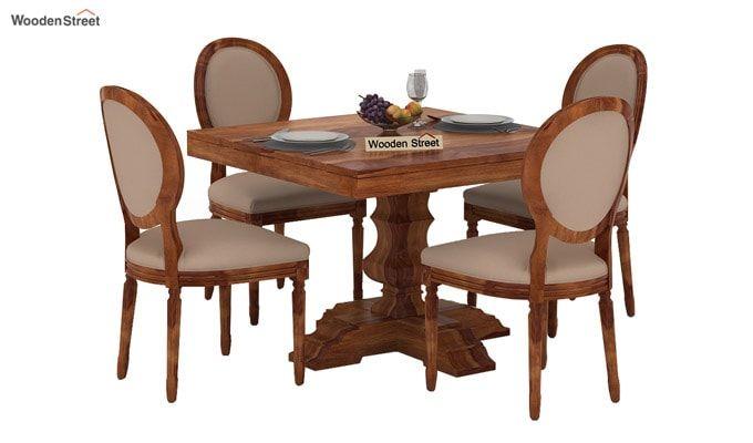Clark 4 Seater Square Dining Set (Teak Finish)-1