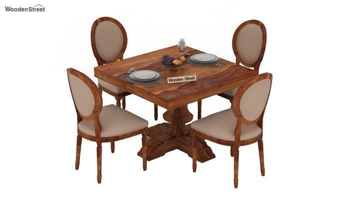 Clark 4 Seater Square Dining Set (Teak Finish)-3
