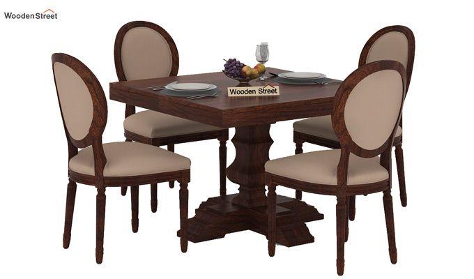 Clark 4 Seater Square Dining Set (Walnut Finish)-2