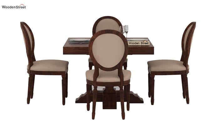 Clark 4 Seater Square Dining Set (Walnut Finish)-3