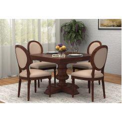 Clark 4 Seater Square Dining Set (Walnut Finish)