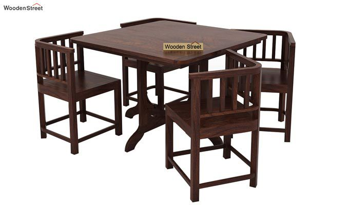 Cohoon 4 Seater Dining Set (Walnut Finish)-2