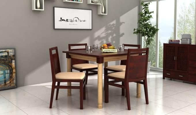 Adriel 4 Seater Dining Set (Mahogany Finish)-1