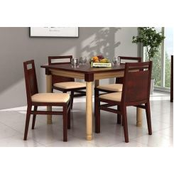 Adriel 4 Seater Dining Set (Mahogany Finish)