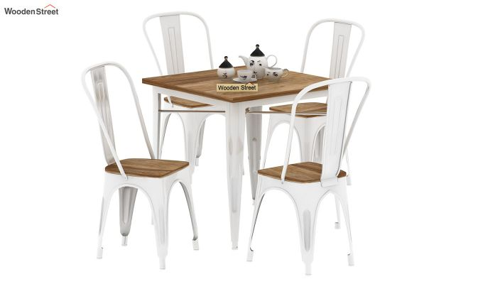 Cora Metal 4 Seater Dining Set (Natural Finish)-2