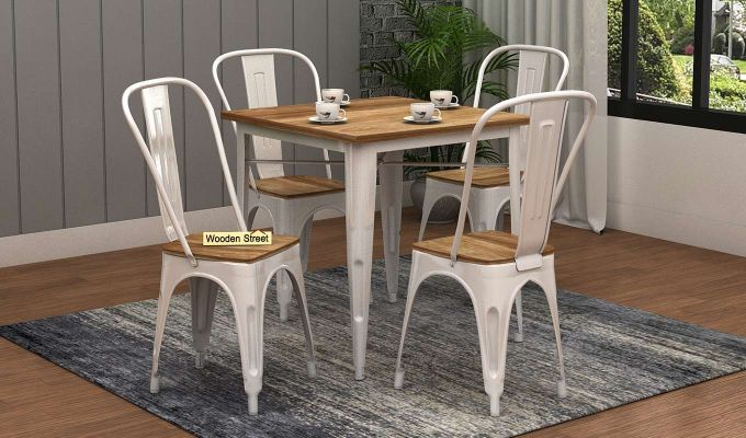 Cora Metal 4 Seater Dining Set (Natural Finish)-1