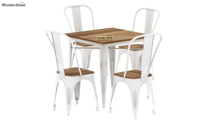 Cora Metal 4 Seater Dining Set (Natural Finish)-3