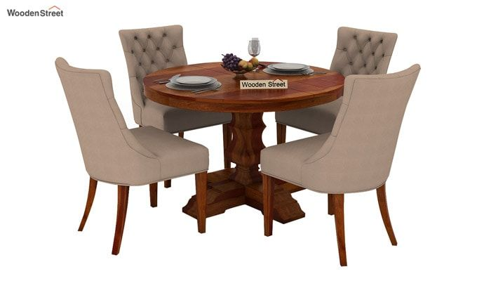 Darren 4 Seater Round Dining Set (Honey Finish)-1
