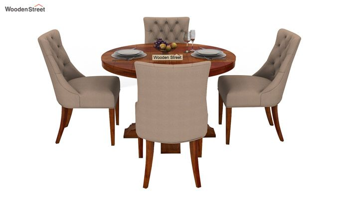 Darren 4 Seater Round Dining Set (Honey Finish)-2