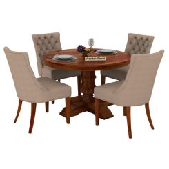 Darren 4 Seater Round Dining Set (Honey Finish)
