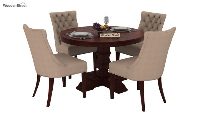 Darren 4 Seater Round Dining Set (Mahogany Finish)-1