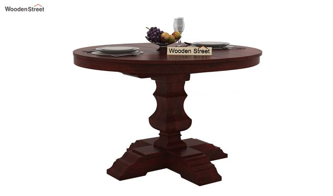 Darren 4 Seater Round Dining Set (Mahogany Finish)-3